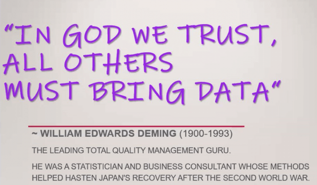 In God we trust, all others bring data