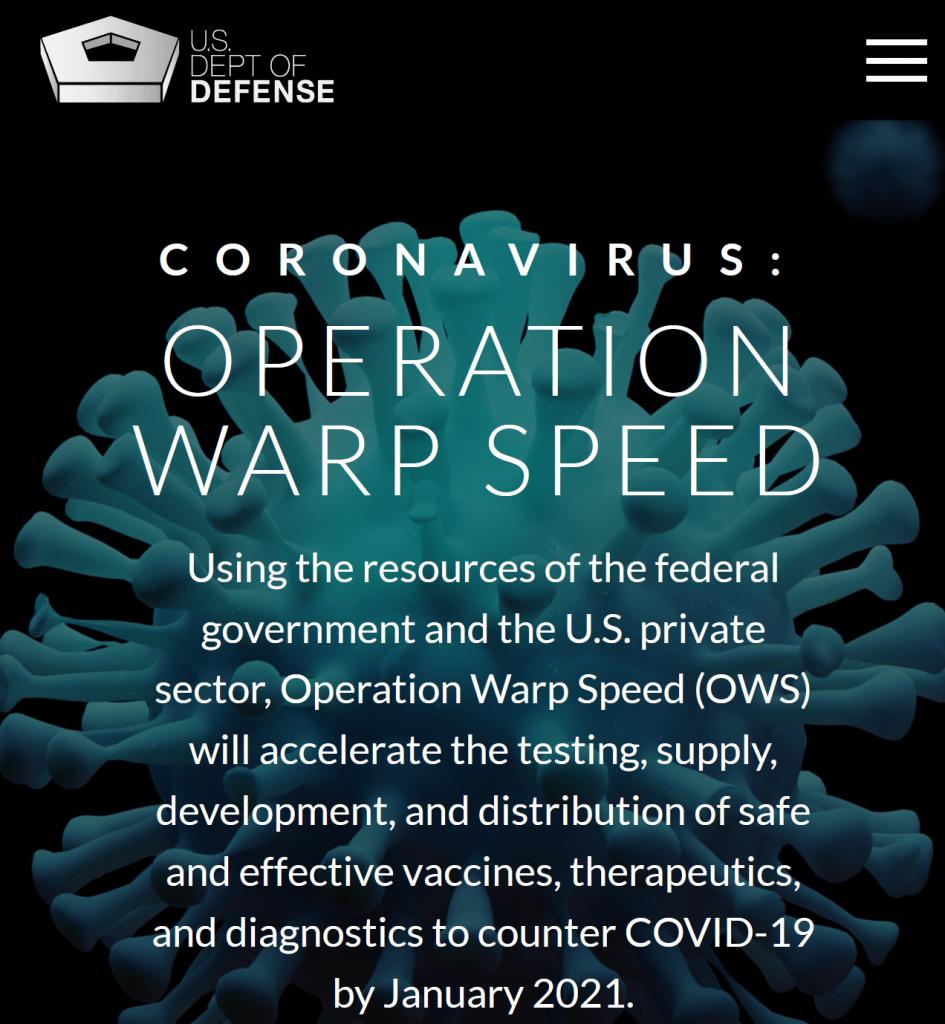 Operation Warp Speed - US Dept. of Defense